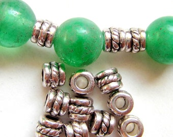 30 Tibetan style beads antique silver spacers 5mm 4mm LF044 - R3
