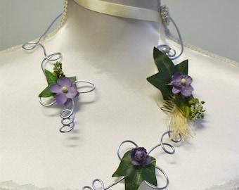 Necklace purple rustic wedding