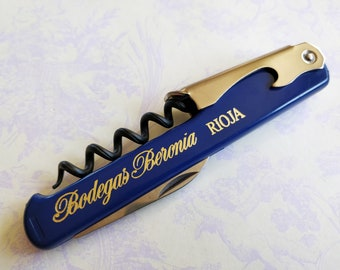 Vintage corkscrew with wine bottle opener - made in France -  Bodegas Beronia Rioja