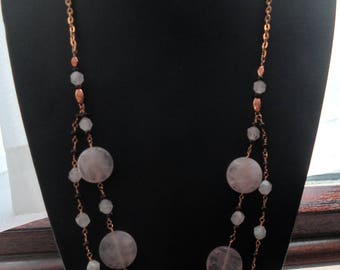 Rose Quartz, garnet and Rose Gold Double Strand Necklace
