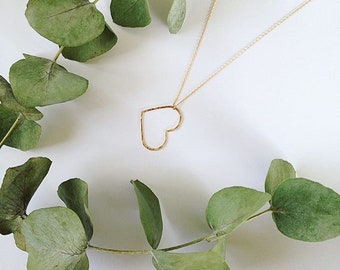 heart necklace - Gold plated chain 14kt - heart 14kt