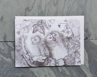 Tawny Owlets Greetings Card, Fine Art Card, Wildlife Card, Owl Card, Art, Illustration