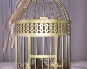 Shabby Chic Birdcage, Moneybox, Centerpiece, Chic Moneybox, Boho Moneybox, Flower Birdcage Moneybox, Birdcage Card Holder, Wedding Moneybox