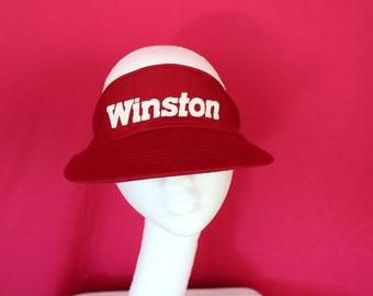 Winston Cigarettes Sun Visor. Vintage 80s Winston Cigarettes Visor Hat. Retro Red RJ Reynolds Tobacco Winston Visor. Retro 90s Smoker Gift