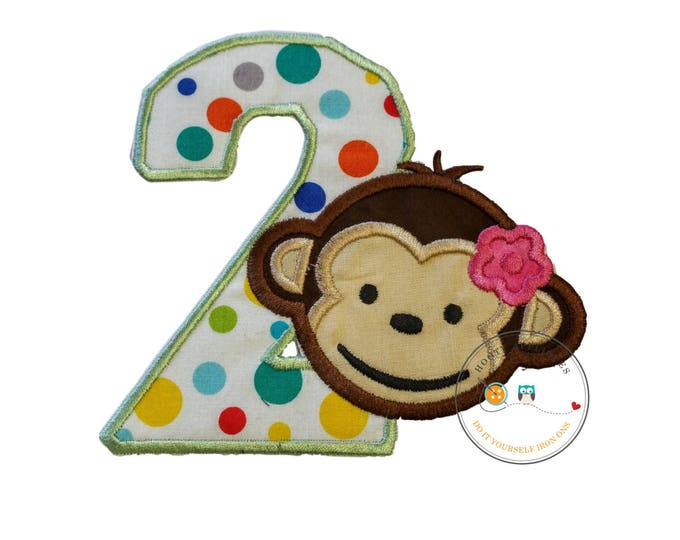 Girl mod monkey number two iron on applique, girl monkey 2nd birthday theme party patch, green and multi-color polka dot number two, premade