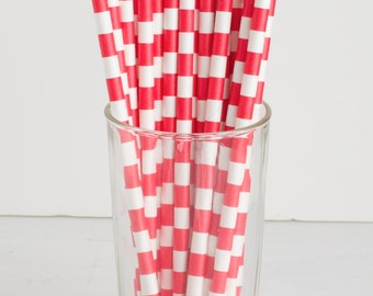 25 Wide Stripe Red and White Straws