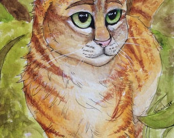 Tabby Cat watercolor painting original