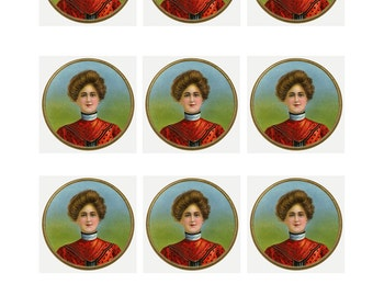 CIGAR GIRL - sheet of 9 circles-  INSTANT Download - Victorian Image