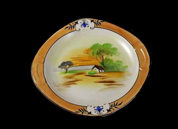 Noritake Salad Plate, Lusterware, Square Plate, Hand Painted,  House and Tree Design