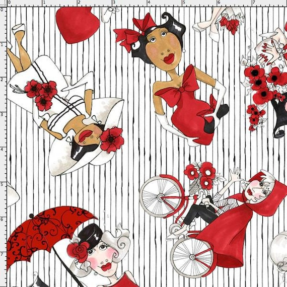 Loralie Designs Tossed Red Ladies on White Fabric Tossed Red