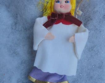 Vintage Felt Purple White Blond Hair Angel Christmas Ornament, Blond Angel, Christmas Angel Ornament, Angel, Christmas Tree, Ornament