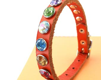Orange Leather Dog Collar with Jewel Tone Rhinestones, Size XS/S, to fit a 8-10in Neck, Little Dog, Tiny Dog Collar, EcoFriendly, OOAK