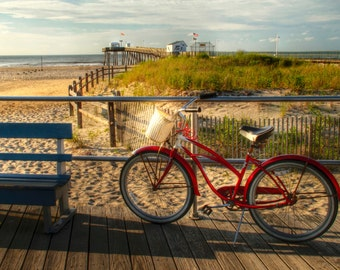 Bicycle and Beach Photograph, Ocean City, New Jersey Shore, Summer, Sand, Boardwalk, Pier, Americana, Art Print, Retro, Red, Home Decor