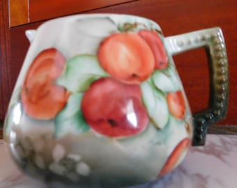 Antique Hand Painted Cider Pitcher from France, Bone China Porcelain, Apple Design, Excellent Condition