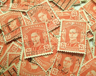200 Red Stamps, Australian Stamps, Craft Stamps, Card Making