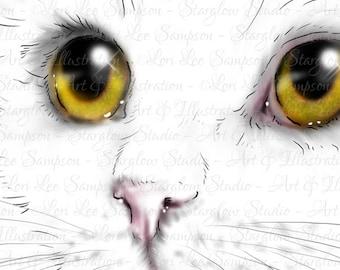 Cat Clip Art | Kitten Face Drawing Download | Clipart Kitten Sketch | Digital Scrapbook & Craft Supply | Scrapbooking Supplies | Cat Art