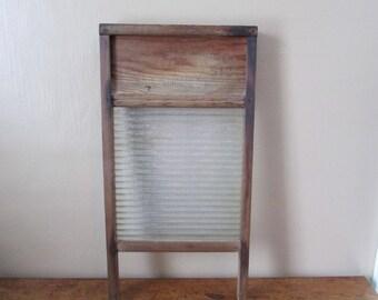 Antique Washboard - Primitive National Glass Washboard - Vintage Glass and Wood Washboard