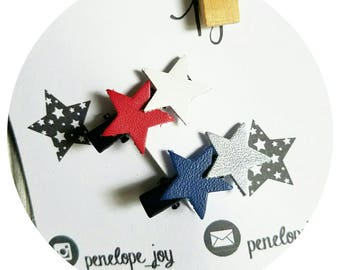 Set of 2 hair clips FOURTH OF JULY Memorial Day, red, white, silver, blue