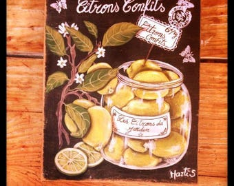 """Painting on wood, antique patina is hand """"still life vintage jar""""candied lemons""""painting"""