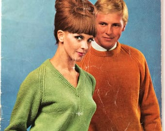 Vintage Villawool knitting patterns - Classic raglan sweaters - Book 136