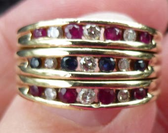 Wide 10.5mm  Natural Ruby, Sapphire and Diamond ring in yellow gold  size 7