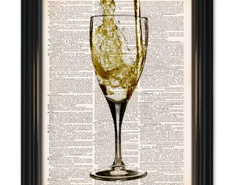 Wine dictionary art print. For your home bar wall decor-time for a glass of wine printed on vintage dictionary paper 8x10 inches