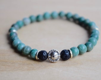 Pisces Bracelet / astrology gift ideas, pisces gifts for her, astrology bracelet, zodiac gift pisces, lava jewelry gift, bloodstone