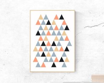 Peach and Gray Printable Art, Scandinavian Wall Print, Geometric Poster, Triangles Abstract Decor, Navy Mustard Copper Home, Scandi Wall Art