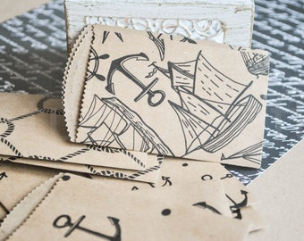 10 small nautical print brown Kraft paper bags | gift card bags | wedding party confetti bags | candy bags | handmade paper bags |mini bags