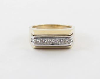 14k Yellow Gold Men's Diamond Ring Size 10 1/4 - Elegant Two Tone Men's Diamond Ring