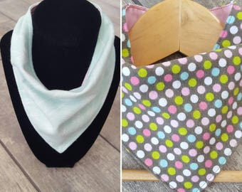 Reversible bandana drool bib - handmade - LIMITED EDITION - polka dot or arrow print cotton flannel with pink cotton - baby girl accessories