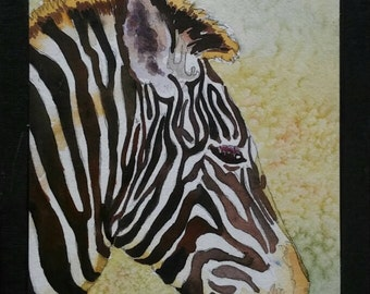 Zebra Quiet Moment Original Watercolor 10.5 in by 7 in Animals Black White Under 50