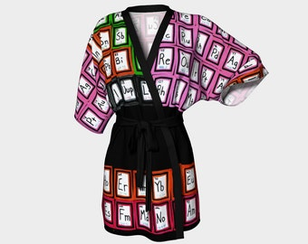 Periodic Table Kimono Robe Science Chemistry Elements Clothing Lounging Coverup Beach Wedding Gift Clothes Women S-M-L-XL Housecoat