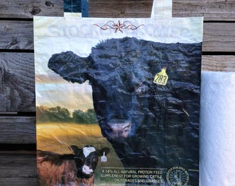 Recycled Feed Bag Tote, reusable tote bag, grocery tote, recycled shopping bag, reusable grocery bag, recycled tote bag, Purina cow