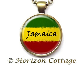 Rasta Flag Jamaica, Rasta Pendant, Rasta Necklace, Rastafarian Jewelry, Jamaica Necklace, Jamaica Pendant, Your Choice of Finish