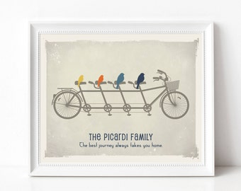 Family Christmas Gift, Bicycle Art Print - Personalized Family Tree, Birds on a Bike Family Sign - As Seen In Pregnancy and Newborn Magazine