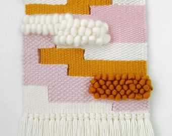 Hand woven wall art : mustard + pink