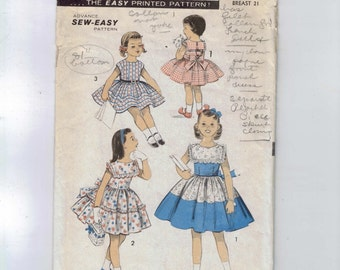 1950s Vintage Sewing Pattern Advance 7961 Girls Full Skirt Dress with Sash and Collar Size 2 Breast 21 or Size 8 breast 26 50s 1950s  99  99