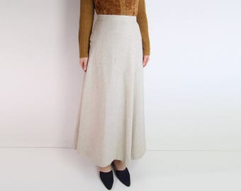 VINTAGE Skirt Natural Woven Maxi Skirt Long Small