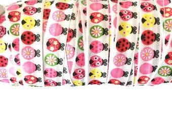 "5/8"" Pink Ladybug ~ FOE ~ Fold Over Elastic ~ Headbands ~ FOE ~ Trim ~ 5/8 inch"