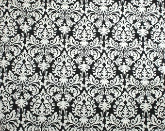 Cream Damask on Black Home Decor Cotton Fabric - One Yard - 44 Inch Home Decor Fabric