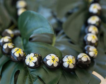 KUKUI NUT LEI - Hand Painted Silver Hibiscus