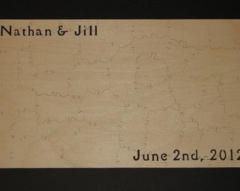"""35-40 pc Jigsaw Puzzle Guest Book for wedding or anniversary HAND CUT 10.5"""" X 18"""" Can Be PERSONALIZED"""