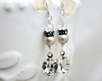 Bridal Earrings, Vintage Inspired, Rhinestone Dangle Fashion Earrings, Platinum Pearls, Crystals, Sterling Silver, Long Wedding Earrings