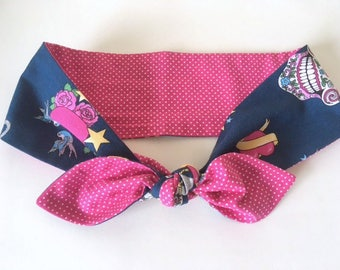 Blue Tattoo Art and Pink Polka Dot Tie on Headband Hair Scarf