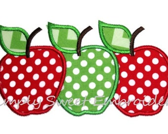 Three Apples Machine Embroidery Applique Design