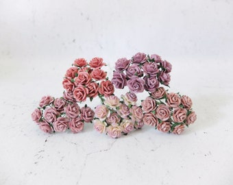 1.5 cm mulberry paper dusty mauve shade paper roses set - 15mm assorted mauve mulberry paper roses