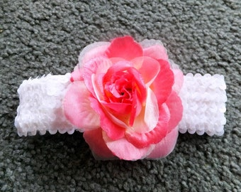 Varigated Pink Rose Headband