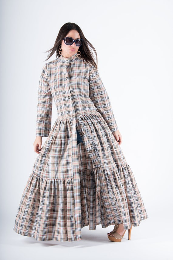 by Long Kaftan Woman Maxi Cotton Dress Summer Kaftan Kaftan Flounces KA0195CT dress Abaya Dress Beige Caftan EUG Plaid Elegant naA4Swx