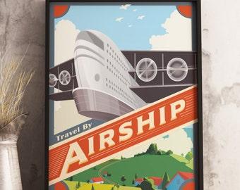 Retrofuturism Airship Poster / Sci-fi Fantasy Poster / unframed.